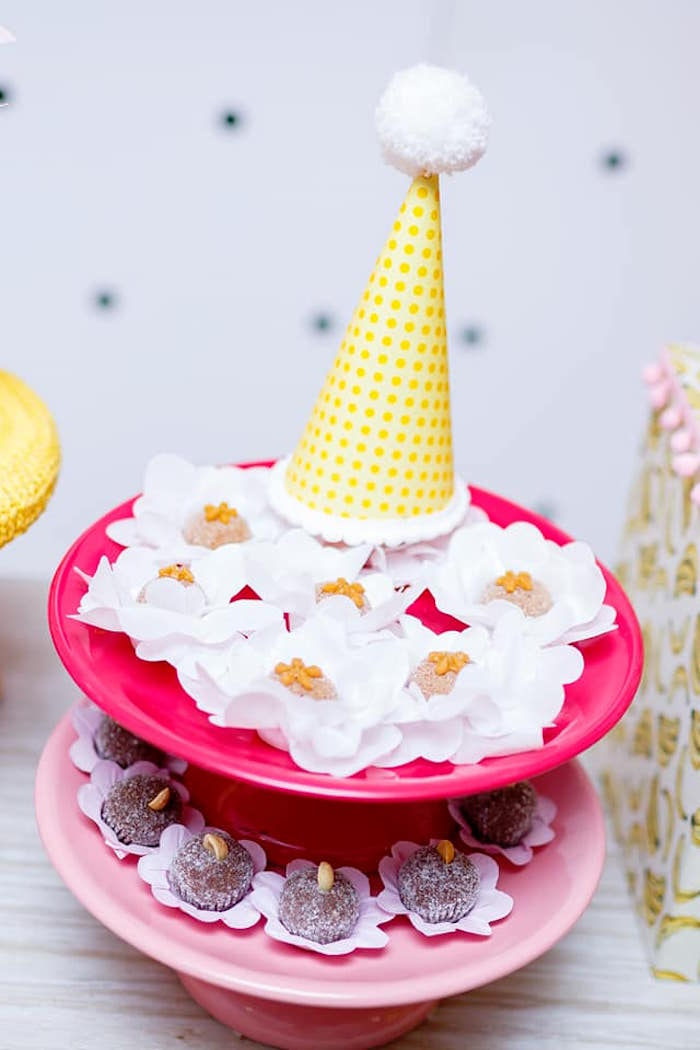 Party Hat Dessert Pedestal from a Pink Girly Minion Birthday Party on Kara's Party Ideas | KarasPartyIdeas.com (15)