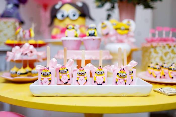Minion Crispy Treat Pops from a Pink Girly Minion Birthday Party on Kara's Party Ideas | KarasPartyIdeas.com (13)