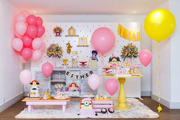 Pink Girly Minion Birthday Party on Kara's Party Ideas | KarasPartyIdeas.com (31)