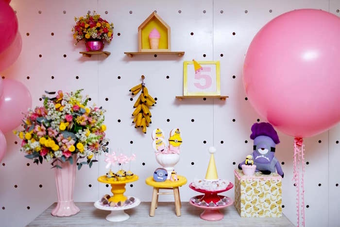 Minion Party Table from a Pink Girly Minion Birthday Party on Kara's Party Ideas | KarasPartyIdeas.com (12)