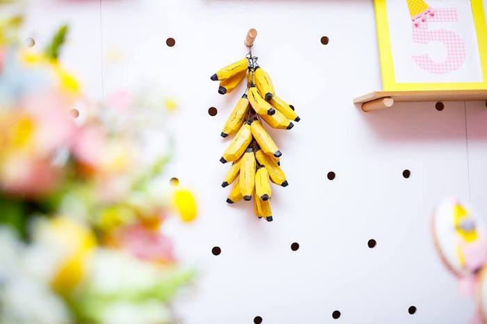 Faux Banana Bunch Decoration from a Pink Girly Minion Birthday Party on Kara's Party Ideas | KarasPartyIdeas.com (10)