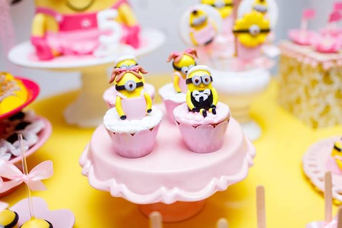Minion Cupcakes from a Pink Girly Minion Birthday Party on Kara's Party Ideas | KarasPartyIdeas.com (8)