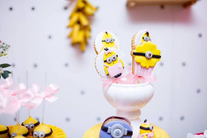 Minion Cookie Pops from a Pink Girly Minion Birthday Party on Kara's Party Ideas | KarasPartyIdeas.com (7)