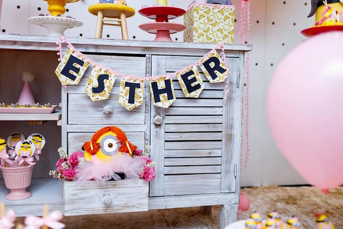 Pink Girly Minion Birthday Party on Kara's Party Ideas | KarasPartyIdeas.com (6)