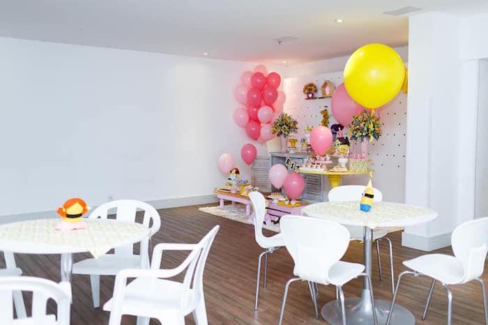 Minion Partyscape from a Pink Girly Minion Birthday Party on Kara's Party Ideas | KarasPartyIdeas.com (5)