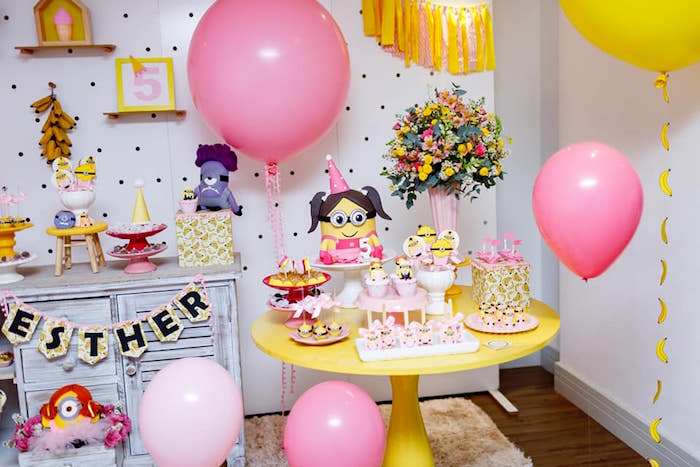 Girly Minion Party Table from a Pink Girly Minion Birthday Party on Kara's Party Ideas | KarasPartyIdeas.com (4)