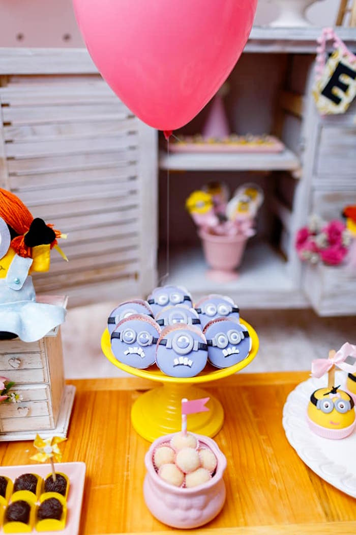 Minion Cookies + Sweets from a Pink Girly Minion Birthday Party on Kara's Party Ideas | KarasPartyIdeas.com (30)