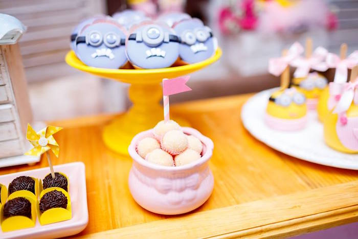 Minion Sweets from a Pink Girly Minion Birthday Party on Kara's Party Ideas | KarasPartyIdeas.com (29)