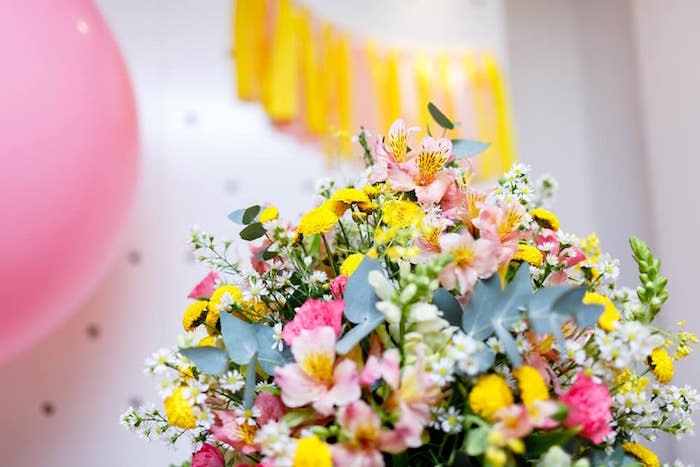 Blooms from a Pink Girly Minion Birthday Party on Kara's Party Ideas | KarasPartyIdeas.com