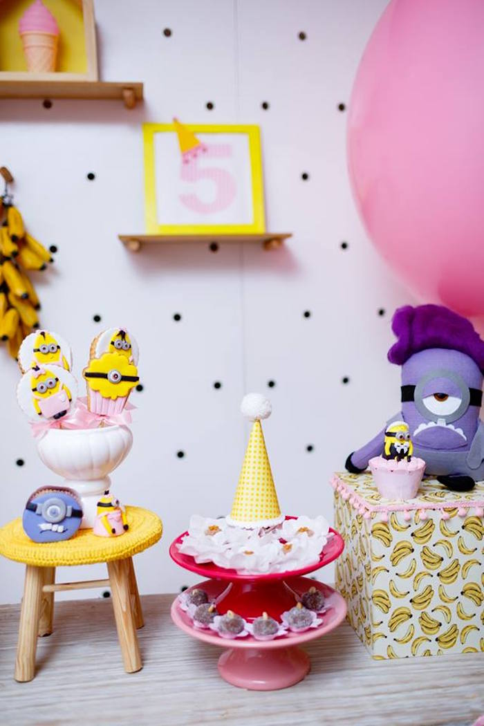 Minion Themed Sweets + Dessert Table Detail from a Pink Girly Minion Birthday Party on Kara's Party Ideas | KarasPartyIdeas.com (27)