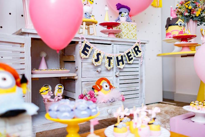 Minion Party Details + Decor from a Pink Girly Minion Birthday Party on Kara's Party Ideas | KarasPartyIdeas.com (25)