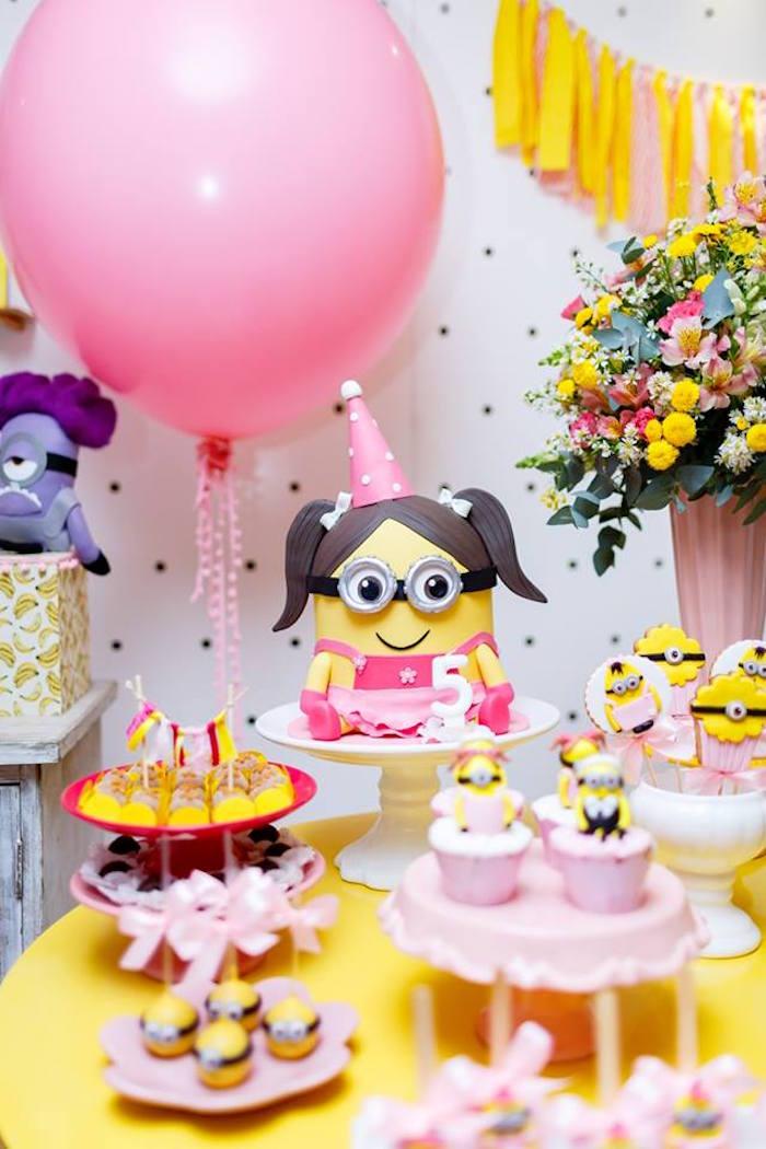 Pink Girly Minion Birthday Party on Kara's Party Ideas | KarasPartyIdeas.com (23)