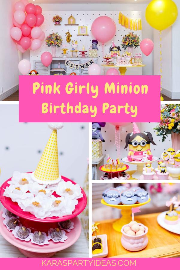 Pink Girly Minion Birthday Party via Kara's Party Ideas - KarasPartyIdeas.com
