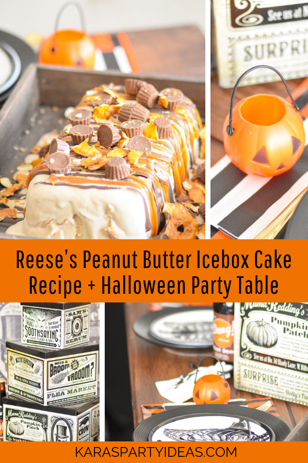 Reese's Peanut Butter Icebox Cake Recipe +Halloween Party Table via Kara's Party Ideas - KarasPartyIdeas.com