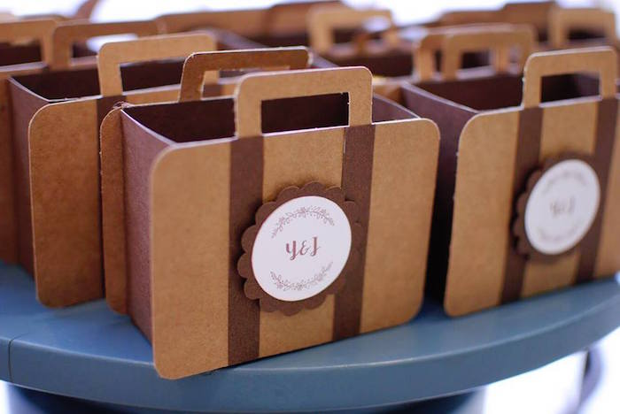 Vintage Suitcase Favor Boxes + Bags from a Rustic Chic Wedding on Kara's Party Ideas | KarasPartyIdeas.com (18)
