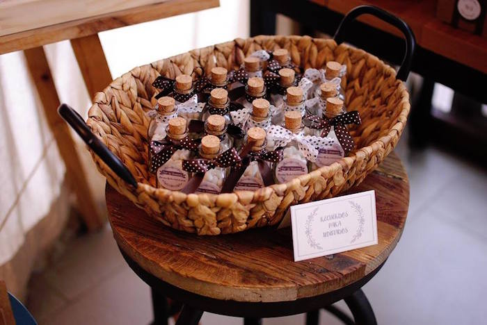 Cork-lid Favor Bottles from a Rustic Chic Wedding on Kara's Party Ideas | KarasPartyIdeas.com (13)