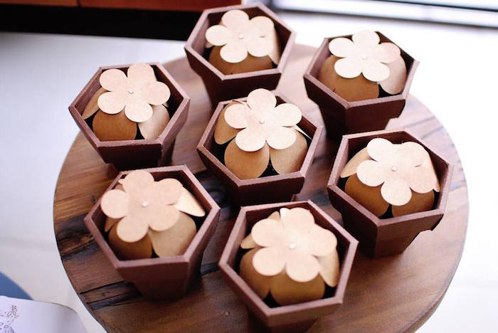 Rustic Flower Pot Favors from a Rustic Chic Wedding on Kara's Party Ideas | KarasPartyIdeas.com (12)