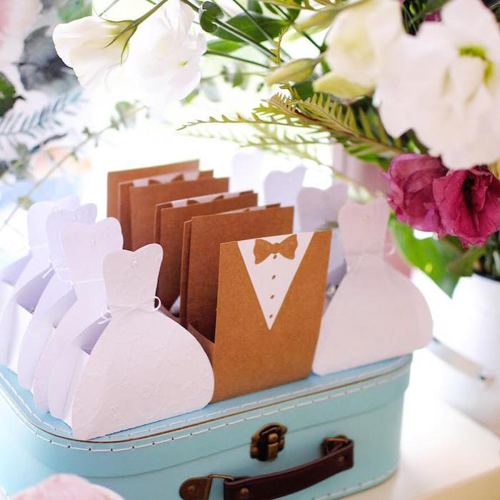 Bride Dress and Groom Tux Favor Boxes from a Rustic Chic Wedding on Kara's Party Ideas | KarasPartyIdeas.com (8)
