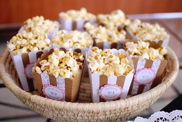 Brown + White Striped Popcorn Boxes from a Rustic Chic Wedding on Kara's Party Ideas | KarasPartyIdeas.com (20)