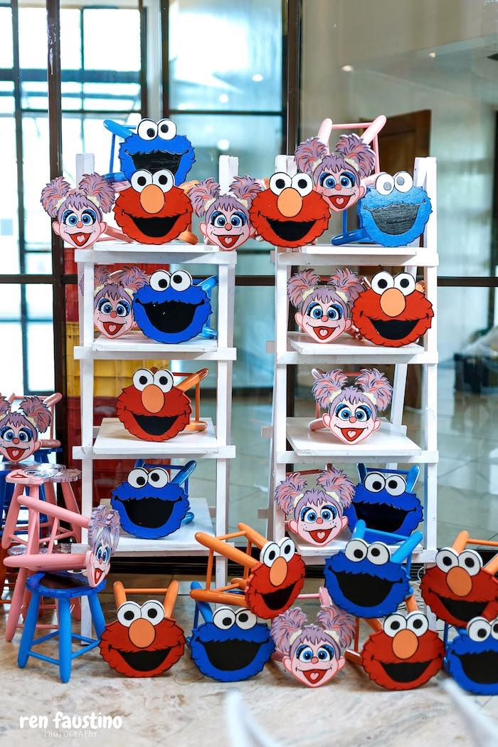Sesame Street Character Stools from a Sesame Street Birthday Party on Kara's Party Ideas | KarasPartyIdeas.com (21)