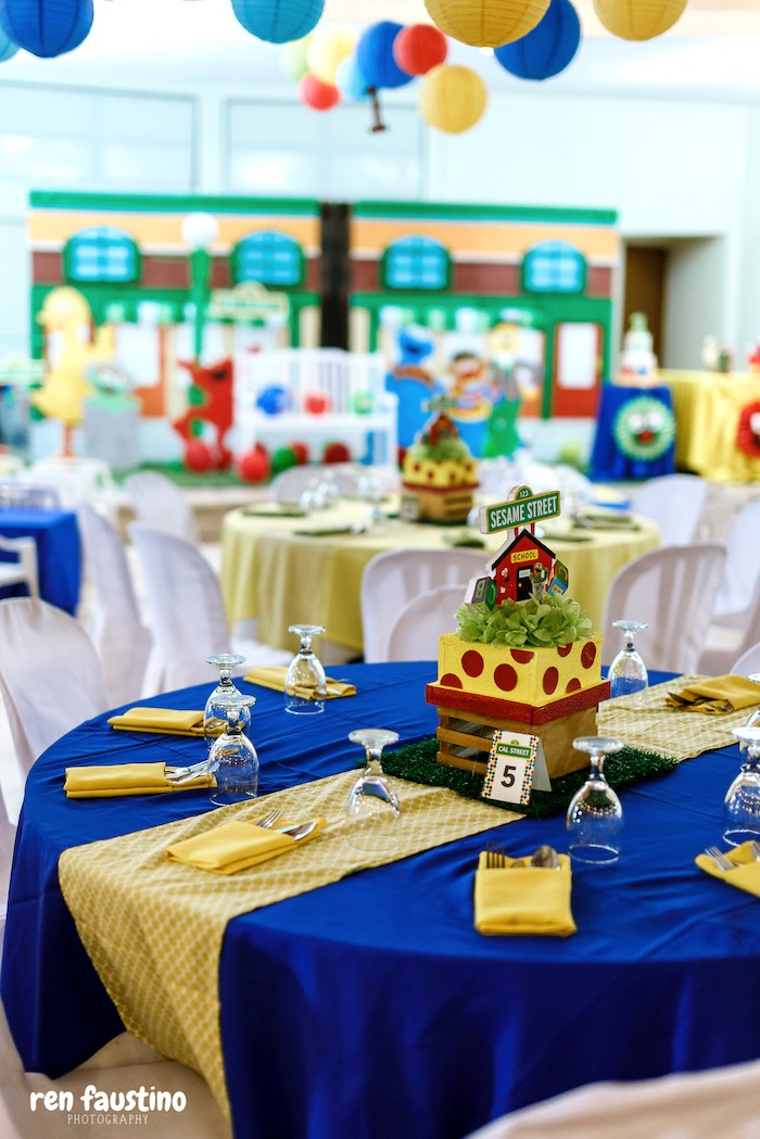 Sesame Street Party Tables from a Sesame Street Birthday Party on Kara's Party Ideas | KarasPartyIdeas.com (20)