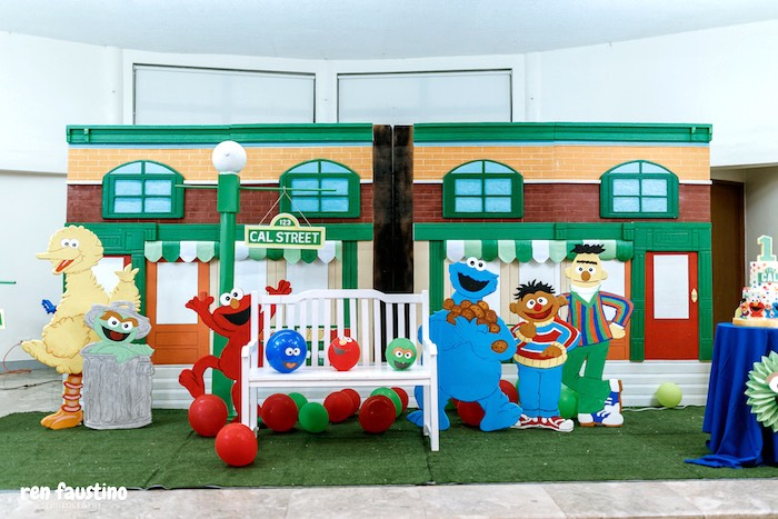 Sesame Street - Party Stage + Backdrop from a Sesame Street Birthday Party on Kara's Party Ideas | KarasPartyIdeas.com (19)