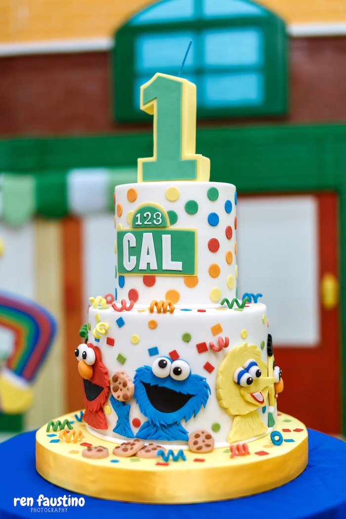 Sesame Street Cake from a Sesame Street Birthday Party on Kara's Party Ideas | KarasPartyIdeas.com (18)