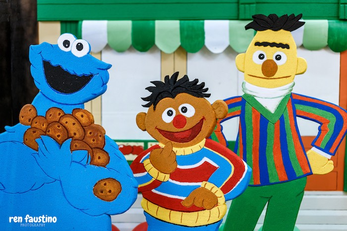 Cookie Monster, Burt & Ernie Backdrop from a Sesame Street Birthday Party on Kara's Party Ideas | KarasPartyIdeas.com (16)