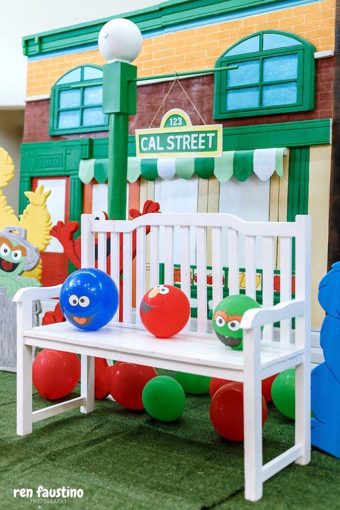 Sesame Street Bench from a Sesame Street Birthday Party on Kara's Party Ideas | KarasPartyIdeas.com (15)