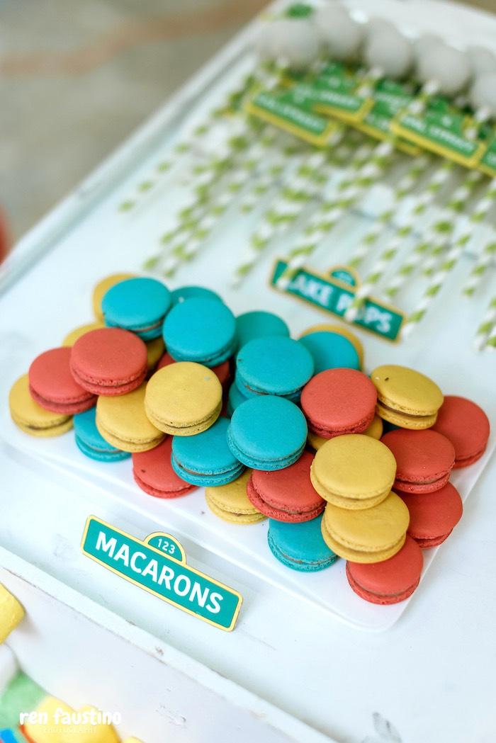 Macarons from a Sesame Street Birthday Party on Kara's Party Ideas | KarasPartyIdeas.com (8)