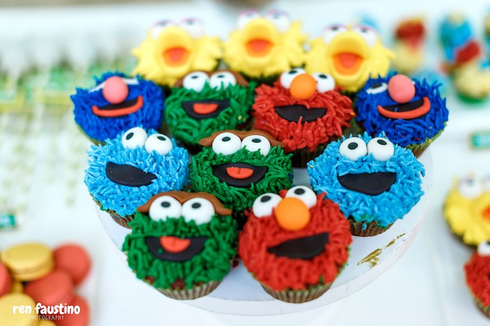Sesame Street Character Cupcakes from a Sesame Street Birthday Party on Kara's Party Ideas | KarasPartyIdeas.com (7)