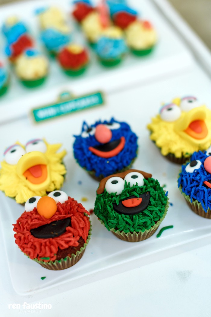 Sesame Street Character Cupcakes from a Sesame Street Birthday Party on Kara's Party Ideas | KarasPartyIdeas.com (6)