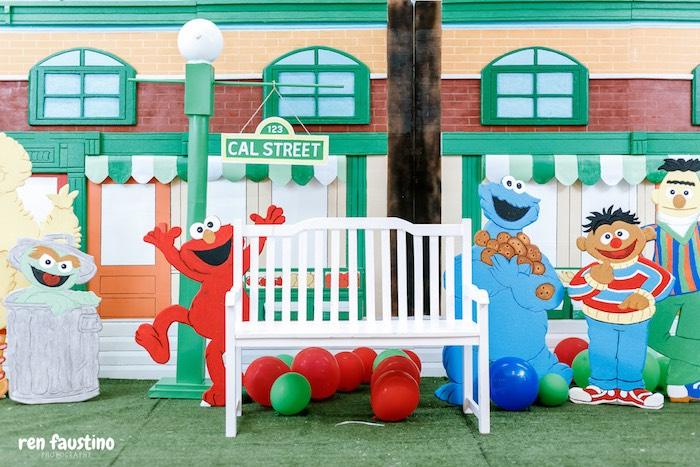Sesame Street Backdrop from a Sesame Street Birthday Party on Kara's Party Ideas | KarasPartyIdeas.com (5)