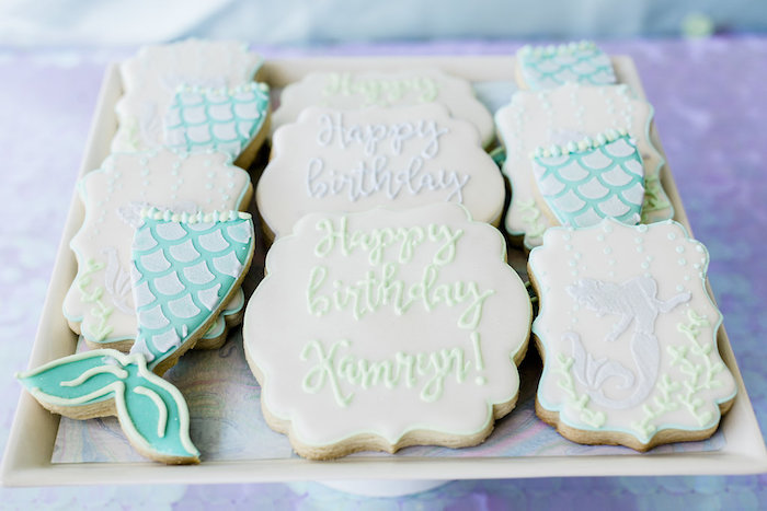 Mermaid Cookies from a Shimmering Mermaid Birthday Party on Kara's Party Ideas | KarasPartyIdeas.com (19)