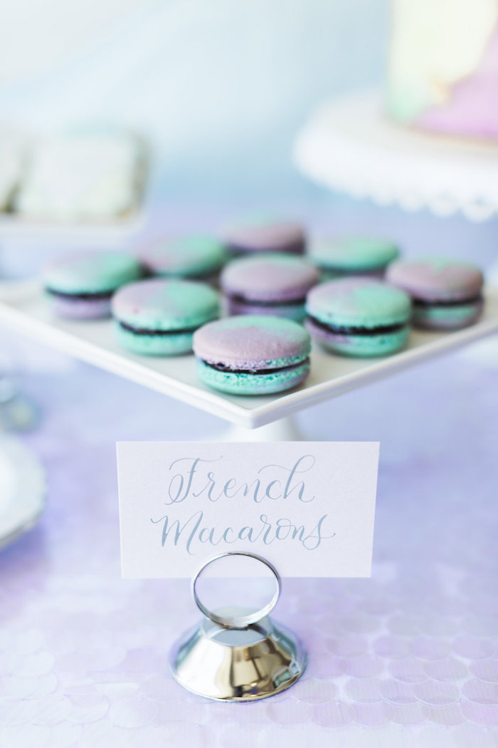 Mermaid Macarons from a Shimmering Mermaid Birthday Party on Kara's Party Ideas | KarasPartyIdeas.com (18)