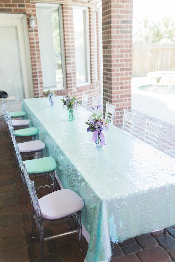 Mermaid Party Table from a Shimmering Mermaid Birthday Party on Kara's Party Ideas | KarasPartyIdeas.com (14)