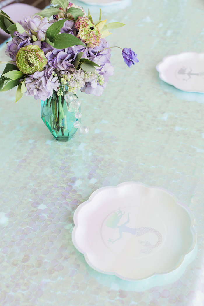 Mermaid Guest Table from a Shimmering Mermaid Birthday Party on Kara's Party Ideas | KarasPartyIdeas.com (11)