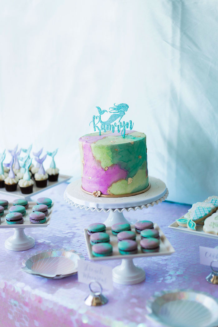 Mermaid Dessert Table from a Shimmering Mermaid Birthday Party on Kara's Party Ideas | KarasPartyIdeas.com (10)