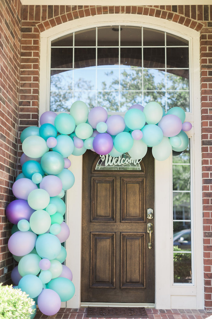 Mermaid-inspired Balloon Garland from a Shimmering Mermaid Birthday Party on Kara's Party Ideas | KarasPartyIdeas.com (28)