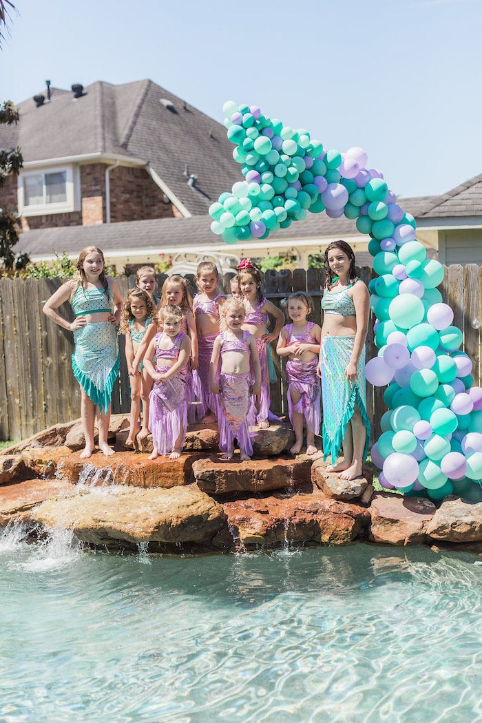 Mermaid Tail Balloon Installation from a Shimmering Mermaid Birthday Party on Kara's Party Ideas | KarasPartyIdeas.com (8)