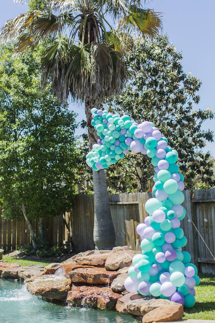 Mermaid Tail Balloon Installation from a Shimmering Mermaid Birthday Party on Kara's Party Ideas | KarasPartyIdeas.com (27)