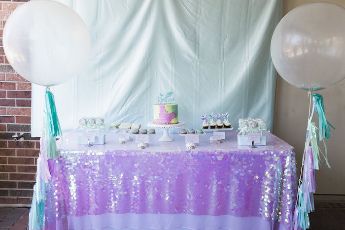 Mermaid Themed Dessert Table from a Shimmering Mermaid Birthday Party on Kara's Party Ideas | KarasPartyIdeas.com (24)