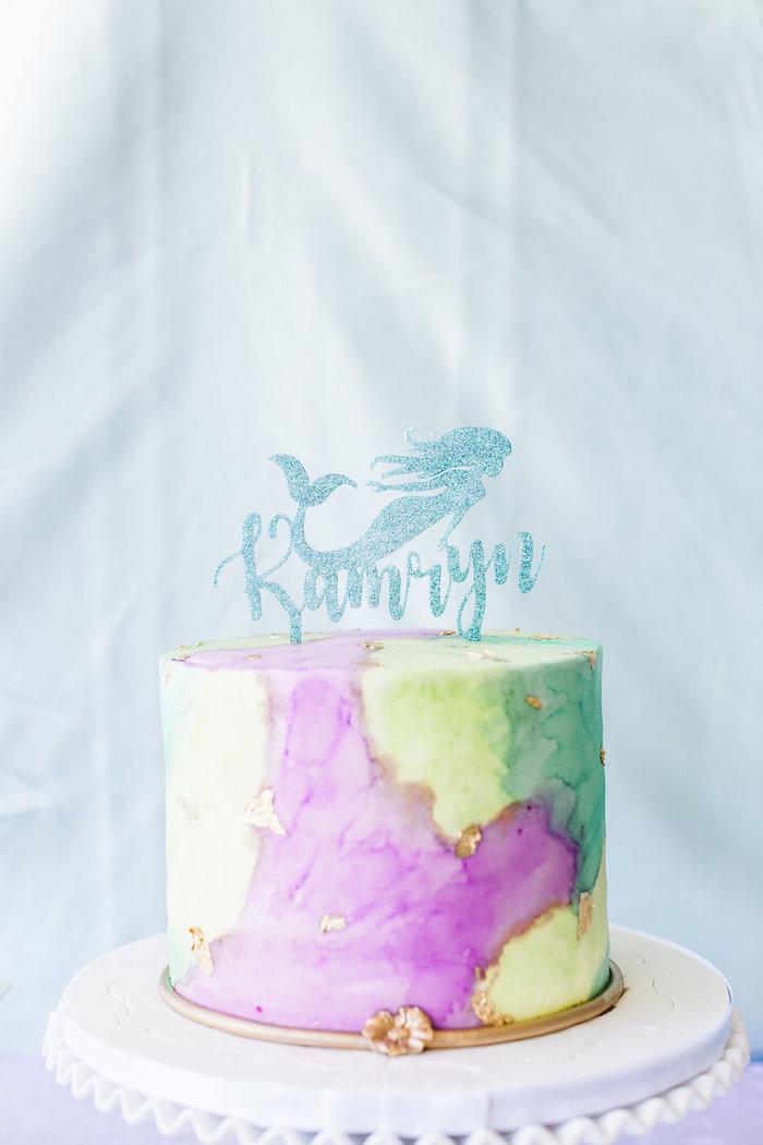 Mermaid Cake from a Shimmering Mermaid Birthday Party on Kara's Party Ideas | KarasPartyIdeas.com (23)