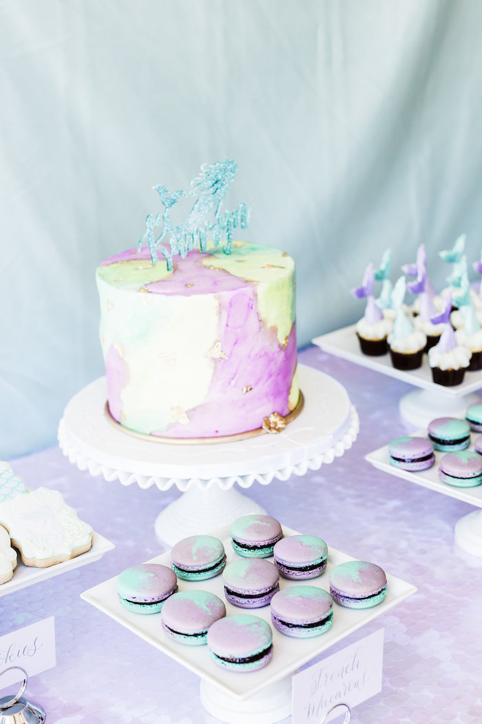 Mermaid-inspired Cake Table from a Shimmering Mermaid Birthday Party on Kara's Party Ideas | KarasPartyIdeas.com (22)