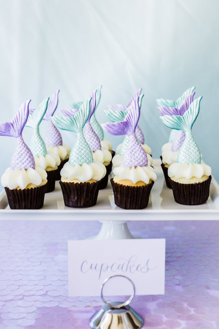 Mermaid Cupcakes from a Shimmering Mermaid Birthday Party on Kara's Party Ideas | KarasPartyIdeas.com (21)