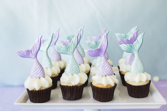 Mermaid Cupcakes from a Shimmering Mermaid Birthday Party on Kara's Party Ideas | KarasPartyIdeas.com (20)