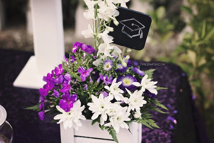 Grad Cap Blooms from a Sparkle & Shine Graduation Party on Kara's Party Ideas | KarasPartyIdeas.com (12)