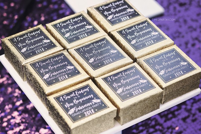 Gold Glam Favor Boxes from a Sparkle & Shine Graduation Party on Kara's Party Ideas | KarasPartyIdeas.com (8)