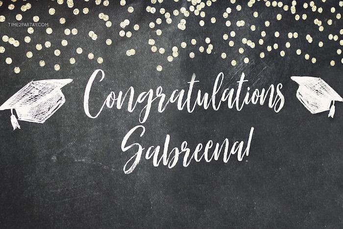 Congratulations Grad Photo Backboard from a Sparkle & Shine Graduation Party on Kara's Party Ideas | KarasPartyIdeas.com (20)
