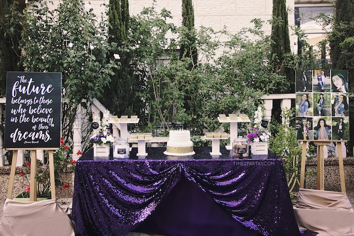 Sparkle & Shine Graduation Party Table on Kara's Party Ideas | KarasPartyIdeas.com (18)